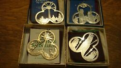 Lunt Sterling Silver Set Of 4 Christmas Medallions 1972-1975 Ornaments