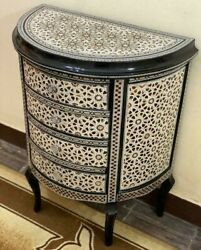 Antique Egyptian Curving Wood Sideboard Inlaid Mother Of Pearl