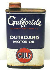 Vintage Gulf Oil Can Gulfpride Tin Metal 1 Quart Outboard Motor Oil Pumps Usa I