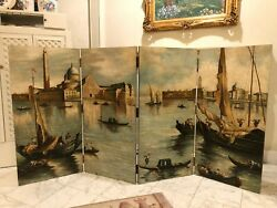 Beautifully Hand Painted Screen / Room Divider - Venice Boat Scene