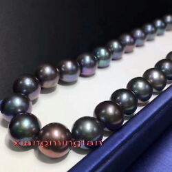 Aaaaa Round 1713-15mm Realtahitian Multicolor Blue Red Black Pearl Necklace 14k