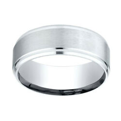 10k White Gold 8mm Comfort Fit Drop Beveled Edge Carved Band Ring Sz 11