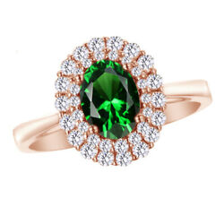 2 Ct Oval And Round Emerald And Natural Diamond 10k Rose Gold Halo Engagement Ring