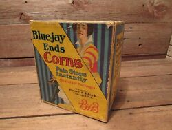 Vintage Bandb Bauer And Black Blue-jay Ends Corns Counter Store Display Case Sign