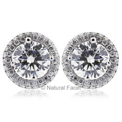 1.46ct G/vs2 Round Earth Mined Certified Diamonds White Gold Halo Fine Earrings