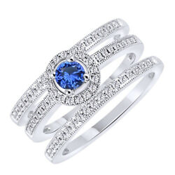 2 Ct Round Cut Blue Sapphire And Natural Diamond 10k White Gold Trio Set Ring