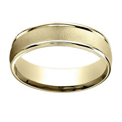 14k Yellow Gold 6mm Comfort-fit Wired-finished High Polished Band Ring Sz-8