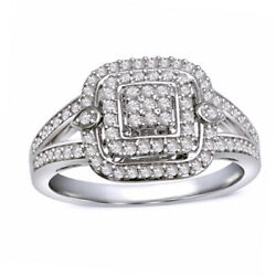 1/2 Ct Natural Diamond Double Frame Ring In 10k White Gold