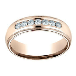 0.42 Ct Round Cut 6mm Comfort-fit 14k Rose Gold Wedding Band Ring Sz-6