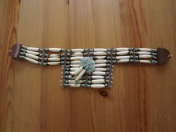 Native American Indian Turquoise Beads Bone Breast Chest Plate Necklace Choker