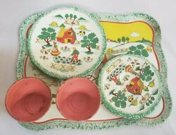 Vintage Ohio Art Tin Toy Tea Cups And Saucers Plates Tray Farm Set Of 2 Lot 11