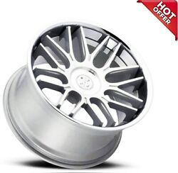 4ea 20 Staggered Blaque Diamond Wheels Bd-27 Silver Machined With Chrome S6