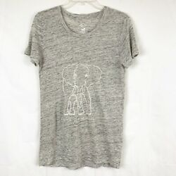 J.Crew Garments For Good Asia Elephant Print Linen Scoop Neck T Shirt Women's XS