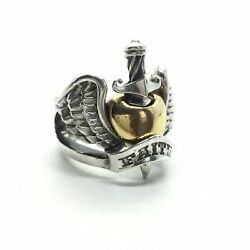 $1695 SOUL FETISH 18K FAITH GOLD CHROME WINGED HEARTS SWORD STERLING SILVER RING
