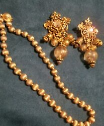 Vtg Quality Gold Tone Iridescent Runway Chandelier Earring And Gold Sign Choker