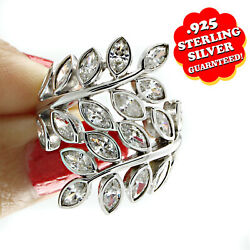 14k White Gold Over 3 Ct Marquise Cut Diamonds Bypass Leaf Ring