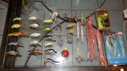 Huge Lot Of Antique Old Fishing Lures Hooksrapalabig-opoeand039srebel Humpy +++