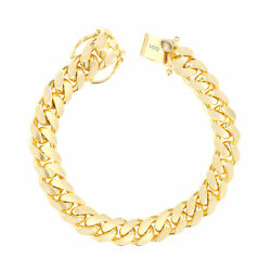 14K Yellow Gold Solid Mens 11mm Miami Cuban Link Chain Bracelet Box Clasp 8.5