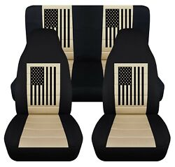 Front And Rear Car Seat Covers Fits Jeep Wrangler Yj-tj-lj 1985-2006 Usa Flag