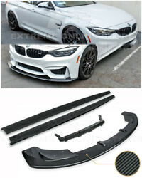 For 15-18 Bmw F80 M3 Carbon Fiber Front Bumper Lip Splitter And Side Skirts Pair