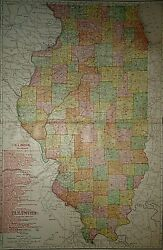 Vintage 1909 Illinois Map Railroads And Electric Lines Old Original Folio Size