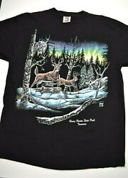 Vintage Stand Out Designs Deer Graphic T Shirt Sz XL USA Made White Tail Nature