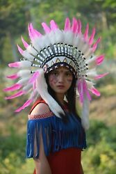 Indian Headdress Warbonnet Pink Swan Feather White Fur Native American Small