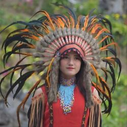 Warbonnet Small Orange Feather Brown Fur Indian Headdress Native American
