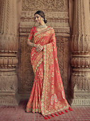 Designer Peach Heavy Zari Resham Embroidery Bollywood Sari Silk Party Wear Saree