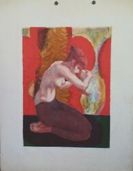Gerald Fairclough Artist Proof Lithograph Girl Combing Her Hair Semi Nude