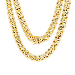 14K Yellow Gold Mens 11mm Real Miami Cuban Link Chain Necklace Box Clasp 24