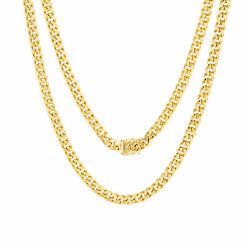 10k Yellow Gold Mens 5.5mm Real Miami Cuban Link Chain Pendant Necklace 18-30