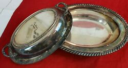 Antique 11 Oval Sheffield Silver Plated Covered Serving Usa Early 1900and039s A36