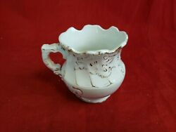Antique O.c. Co. Limoge Porcelain Creamer / Small Pitcher White And Gold Gl10
