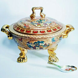 Asian Antique Hand Painted Gold Gilt Moriage Large Soup Tureen Lions Feet Bowl