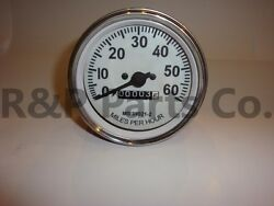 Speedometer Gauge For Willys Mb Jeep Ford Cj Gpw Chrome Bezel White Face 60 Mph