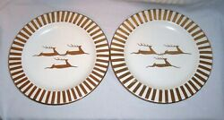 Set Of 2 Laurie Gates Stoneware 9 7/16 Dinner Plate 24k Accent Gold Reindeer