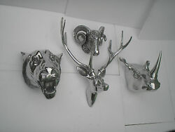 Wall Mounted Metal Stag Head With Lion Rhino And Ram Head Deer Antelope