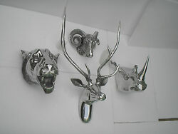 Large Wall Mounted Metal Stag Head With Lion Rhino And Ram Head Deer Antelope Fx/]