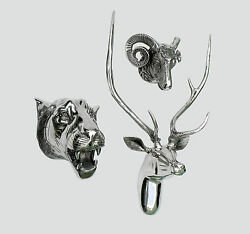 Large Wall Mounted Metal Stag Head With Lion And Ram Head Deer Antelope Fx].-