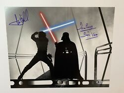 Mark Hamill And Dave Prowse Autographed 11x14 Photo Bas Luke Skywalker Darth