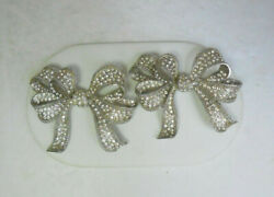 Pair Of Large Vintage Barrera Silver Tone Bow Brooches / Pins
