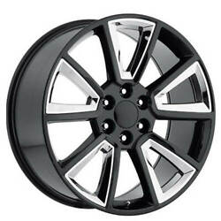 4ea 22 Chevy Tahoe Wheels Fr 57 Black With Chrome Inserts Oem Replica Rimss1