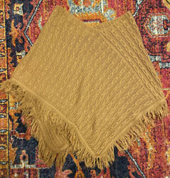 Sonoma Life + Style Womens Cable Knit Camel Tan Poncho SM
