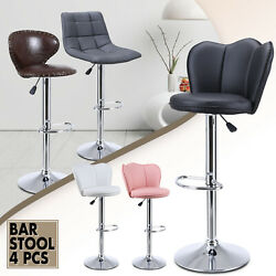 Set Of 4 Bar Stools Counter Swivel Bistro Dining Bar Chairs Pu Leather Modern
