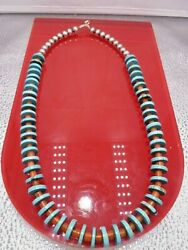 Gorgeous Santo Domingo Red Coral Morenci Turquoise Beads Heishi Necklace Native