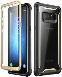 Case With Built-in Screen Protector For Samsung Galaxy Note 8 Black Gold New