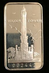 Chicago Water Tower 999 Silver Art Bar 1 Troy Oz Swiss-14 Collectible Ingot