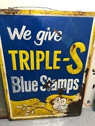 Vintage Large Triple-s Blue Stamps Owl Metal Sign 46andrdquo X 34andrdquo