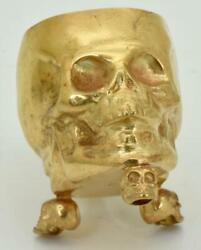 Wwi Imperial Russian Doctorand039s Memento Mori Solid Silverandgold Plated Skull Goblet